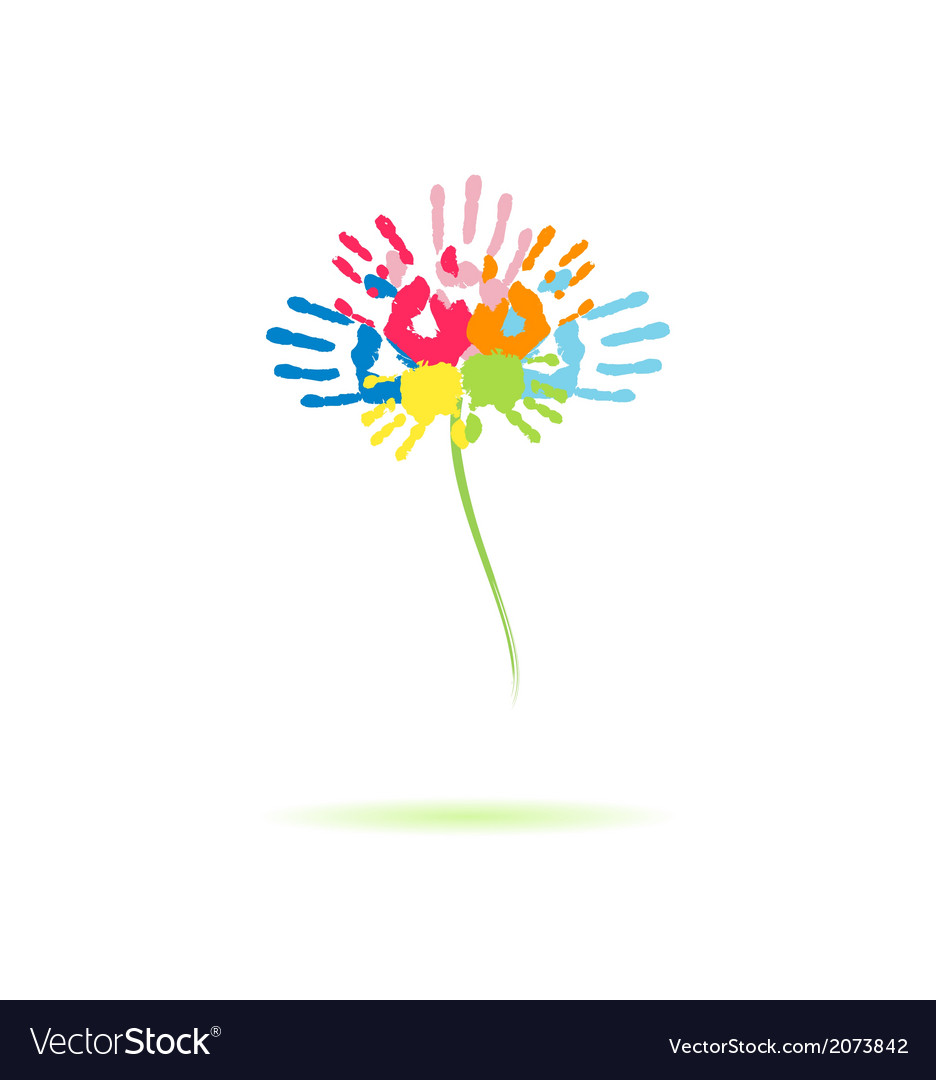 Colorful flower of the handprints vector | Price: 1 Credit (USD $1)