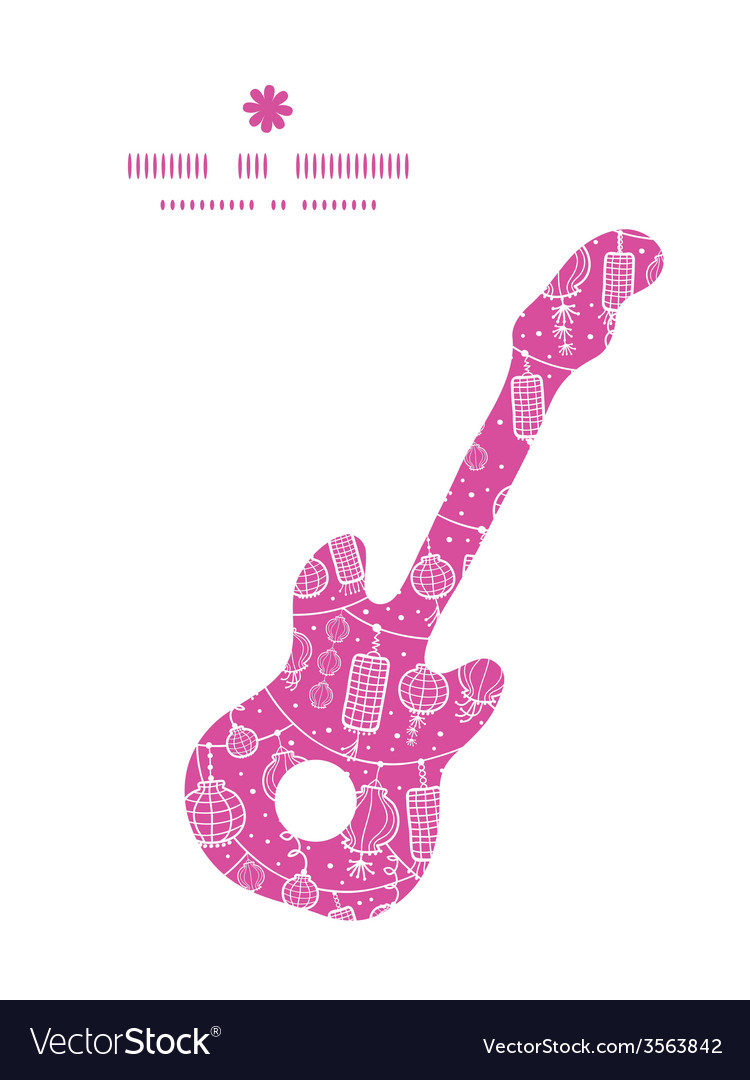 Holiday lanterns line art guitar music silhouette vector | Price: 1 Credit (USD $1)