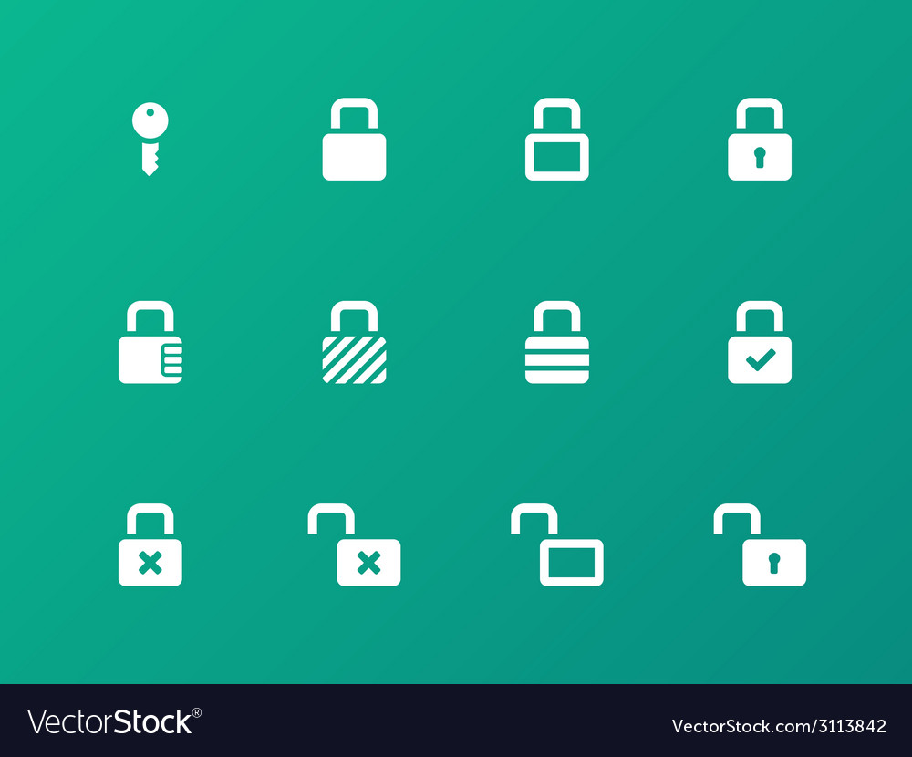 Locks icons on green background vector | Price: 1 Credit (USD $1)