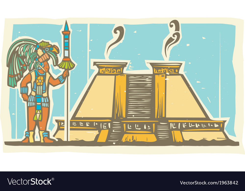 Mayan warrior and pyramid vector | Price: 1 Credit (USD $1)