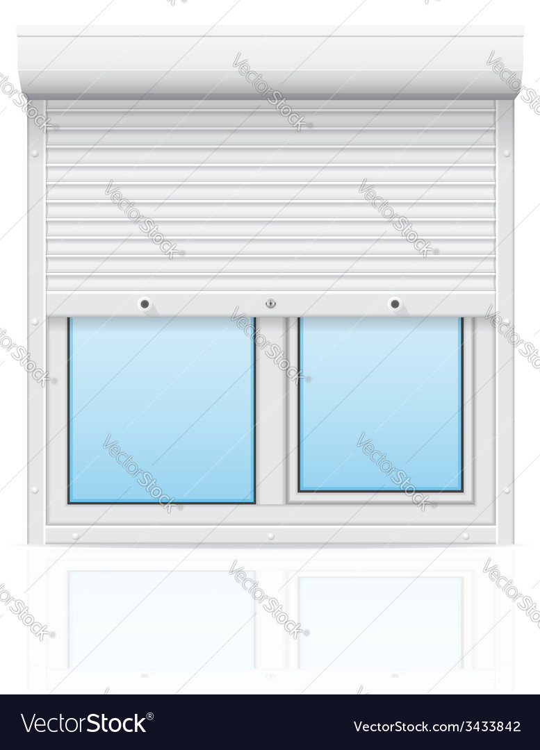 Plastic window with rolling shutters 01 vector | Price: 1 Credit (USD $1)