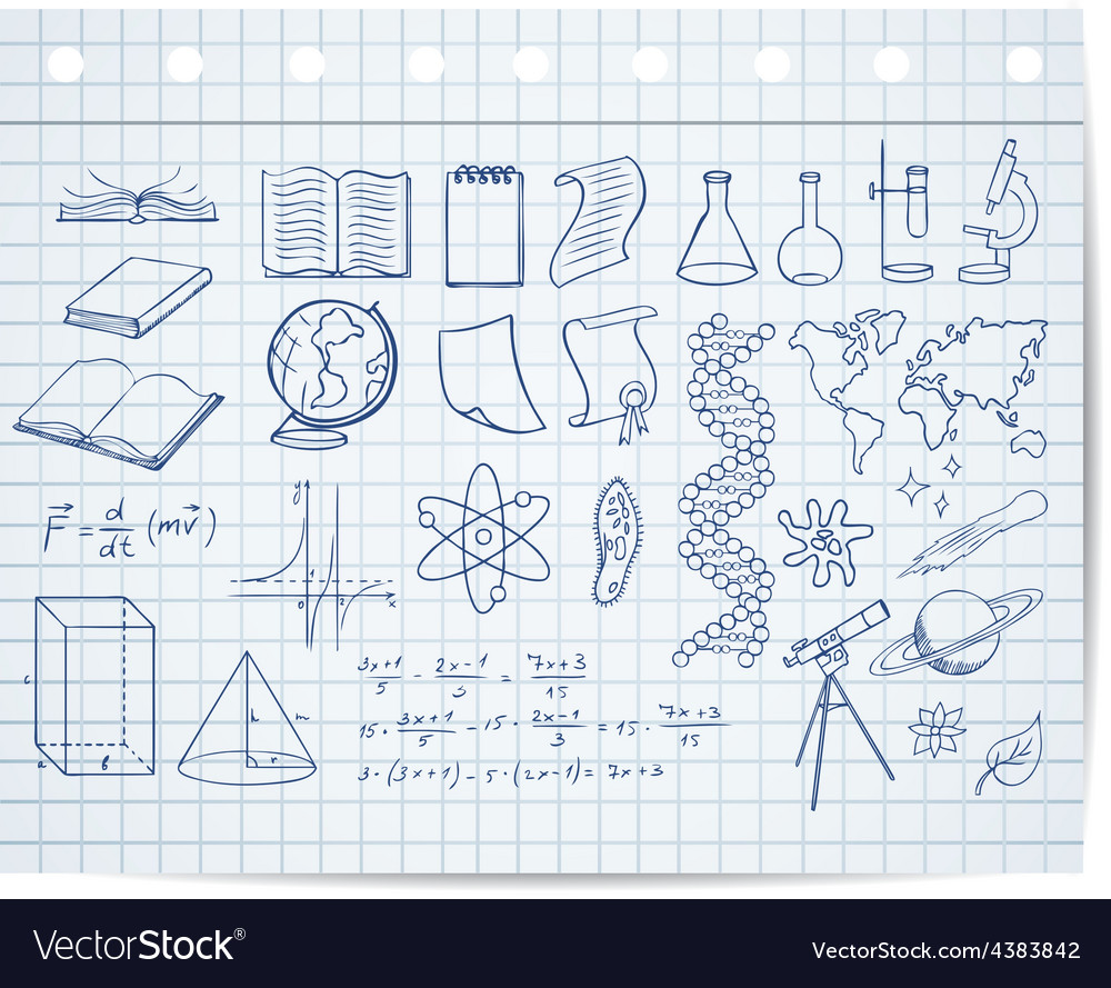 Science and education symbols on copybook page vector | Price: 1 Credit (USD $1)