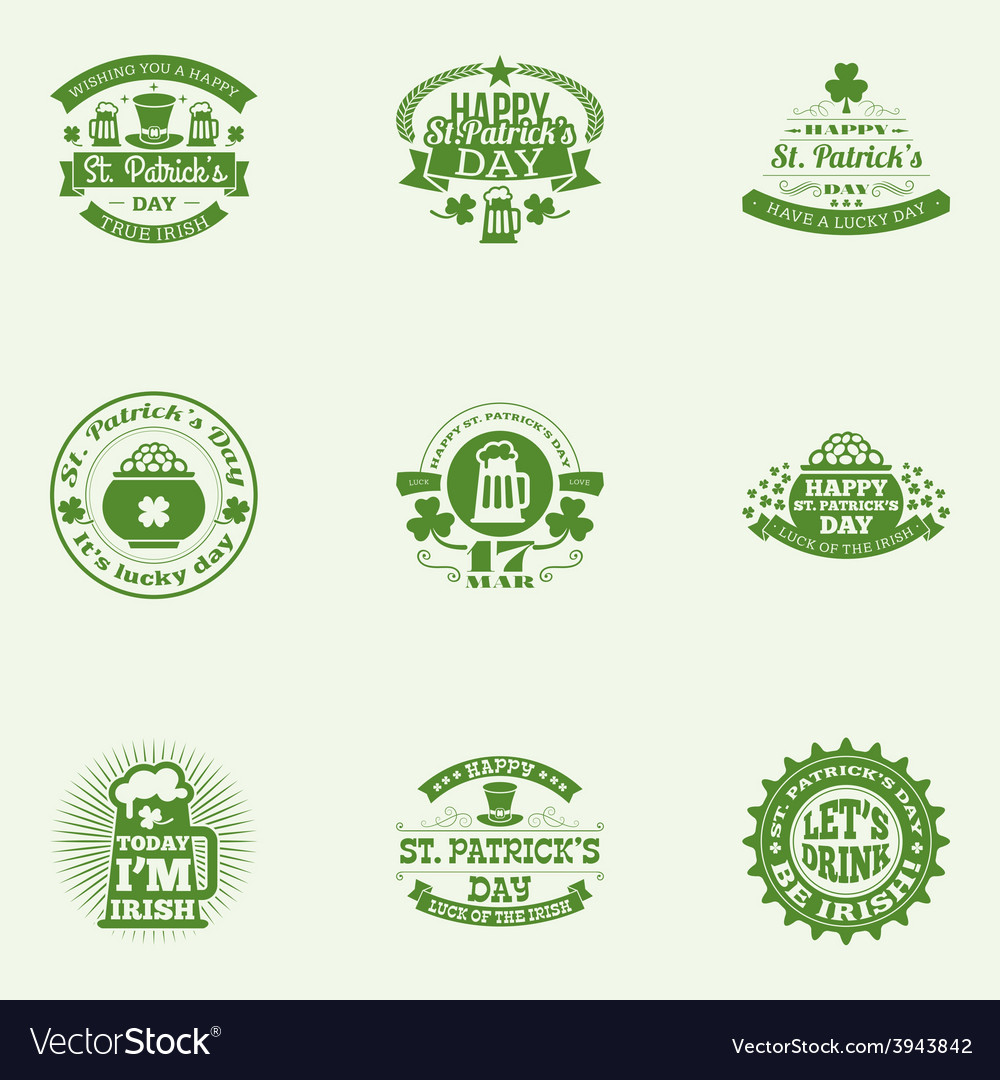 Set of st patricks day vintage holiday badges vector | Price: 1 Credit (USD $1)