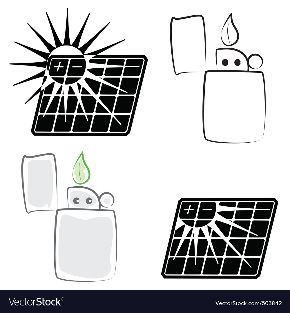 Solar panel and lighter vector | Price: 1 Credit (USD $1)