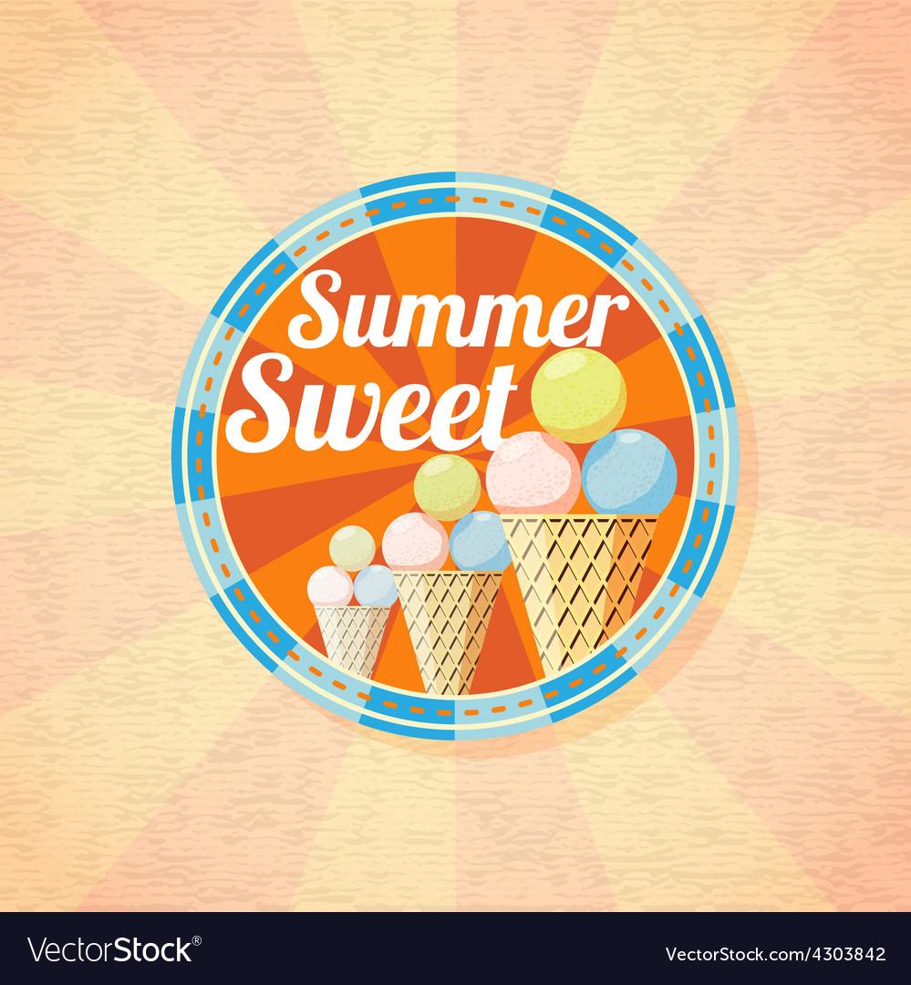 Summer sweet ice cream retro background vector | Price: 3 Credit (USD $3)