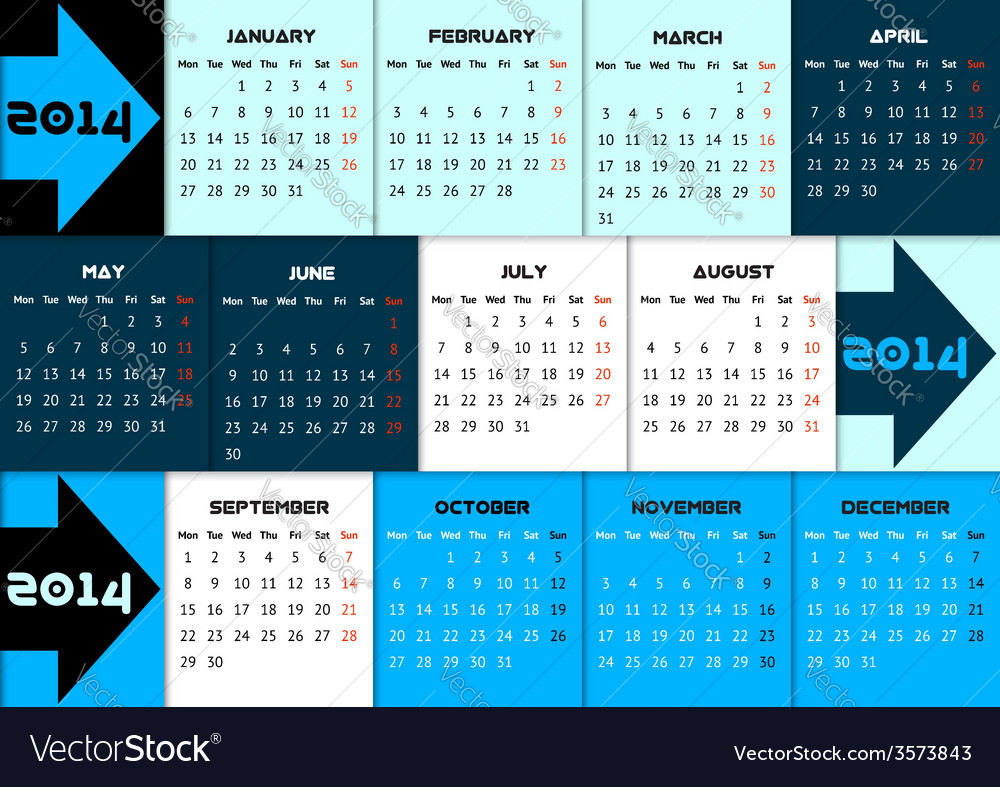 Blue infographic calendar 2014 with arrows vector | Price: 1 Credit (USD $1)