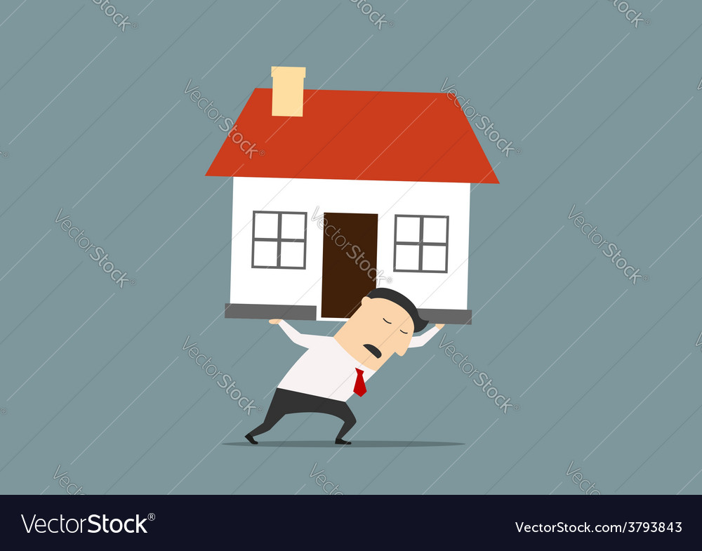 Businessman carrying a house on his back vector | Price: 1 Credit (USD $1)