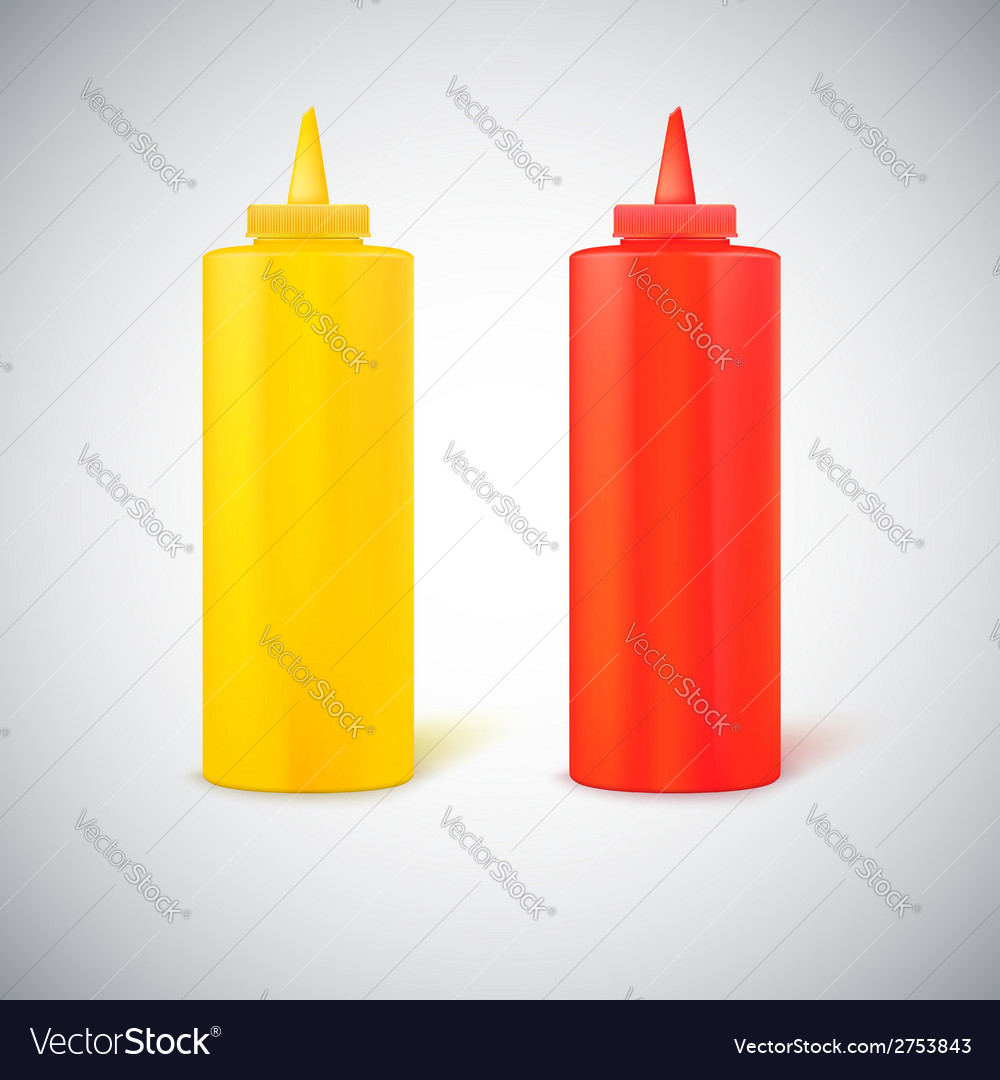 Close up bottles of mustard and ketchup vector | Price: 1 Credit (USD $1)