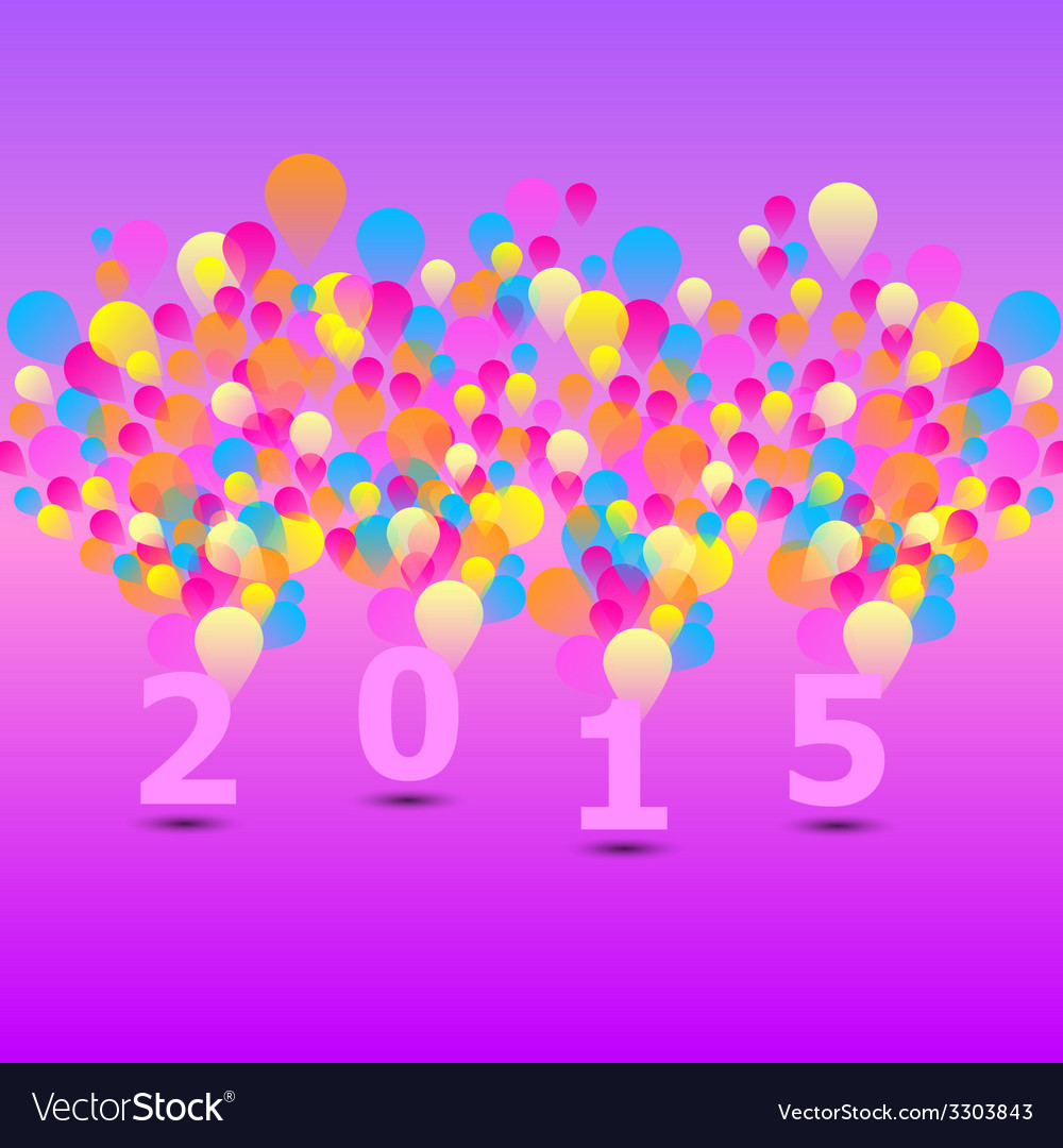 Created 2015 card with colorful balloon vector | Price: 1 Credit (USD $1)