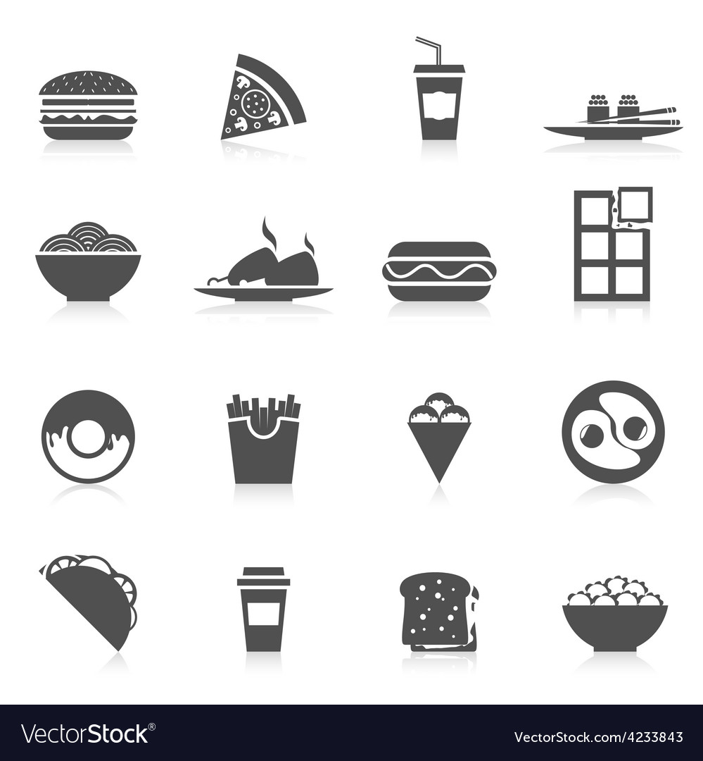 Fast food icons black vector | Price: 1 Credit (USD $1)
