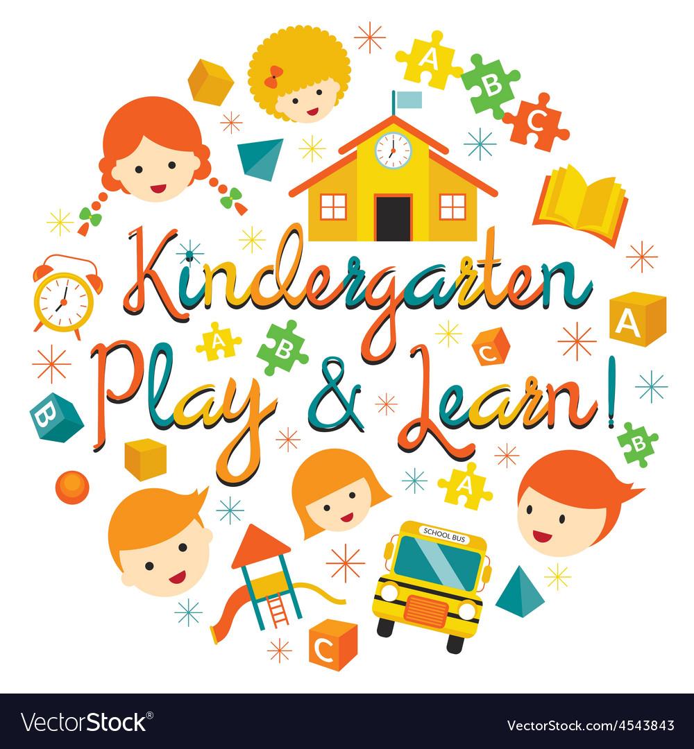 Kindergarten preschool kids heading vector | Price: 1 Credit (USD $1)