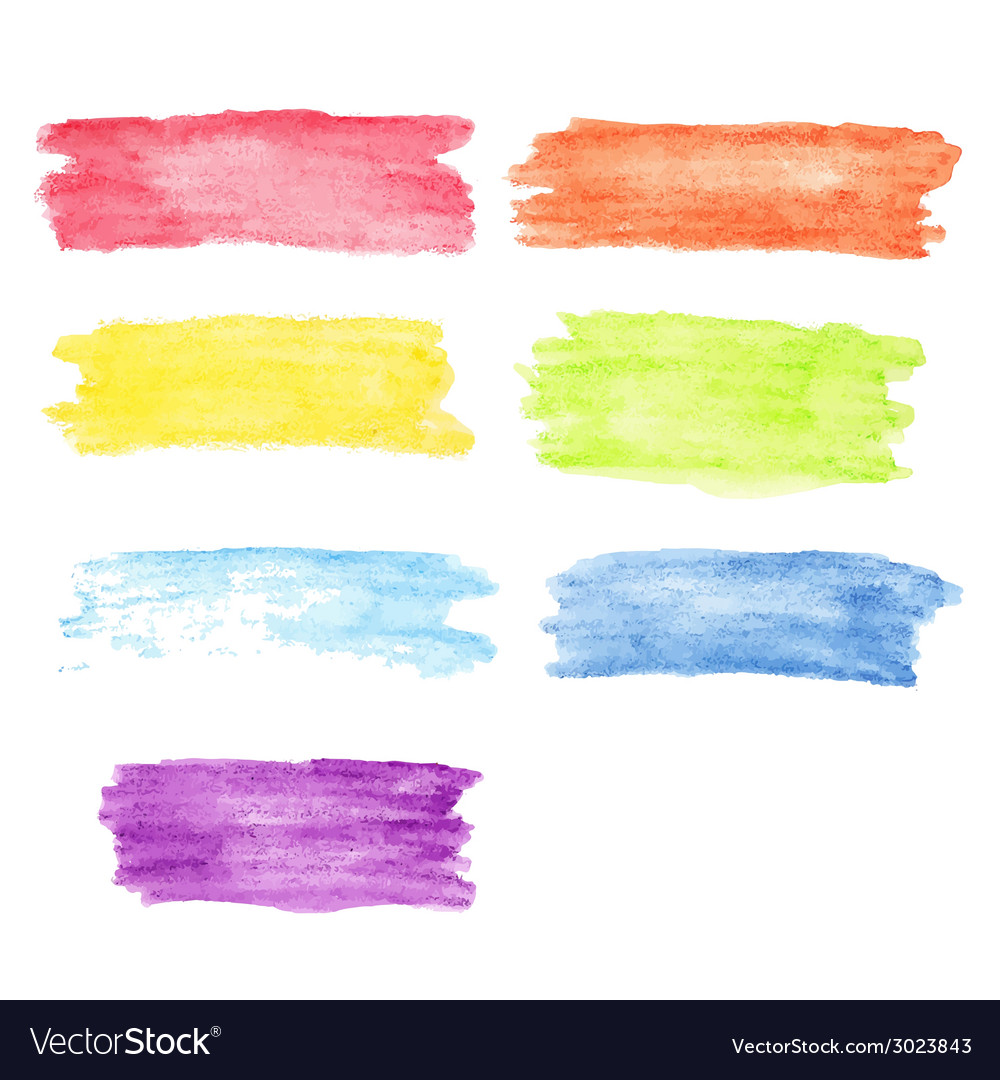 Rainbow watercolor stains set vector | Price: 1 Credit (USD $1)