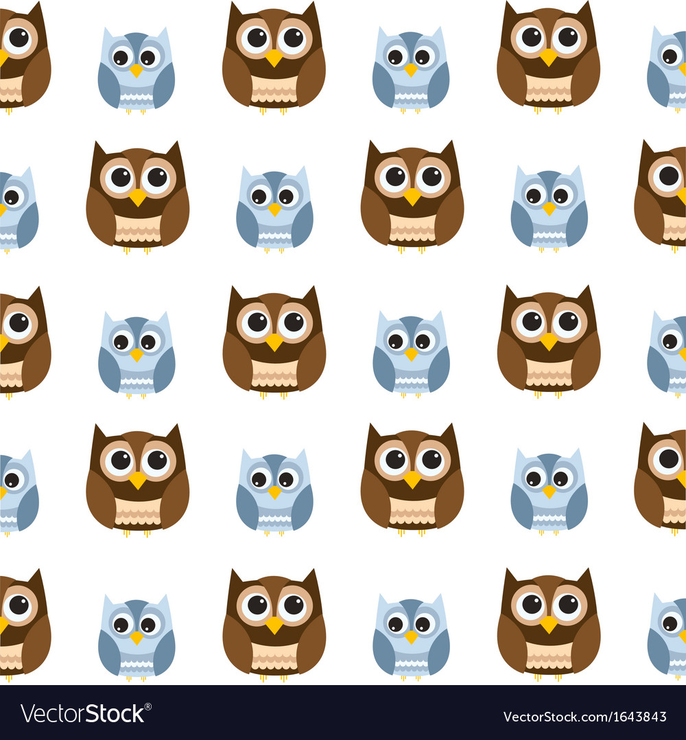 Seamless owl pattern vector | Price: 1 Credit (USD $1)