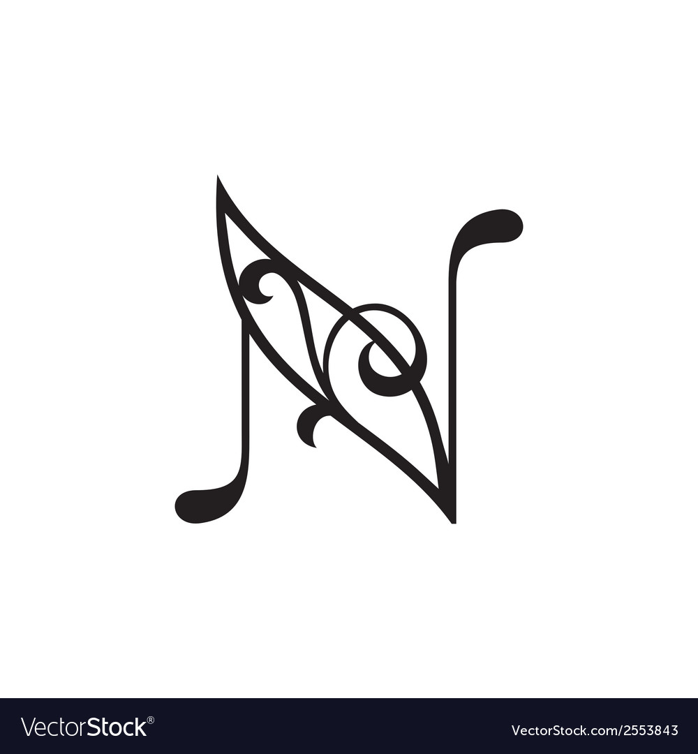 Sign the letter n vector | Price: 1 Credit (USD $1)