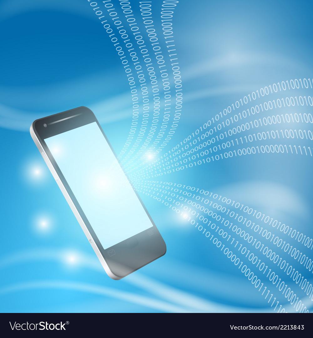 Stream of binary code to mobilephone vector | Price: 1 Credit (USD $1)