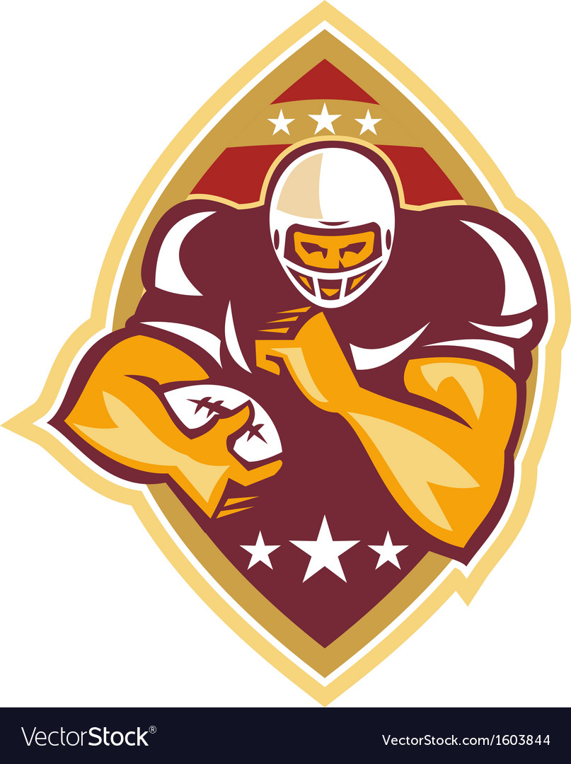 American football running back star ball vector | Price: 1 Credit (USD $1)