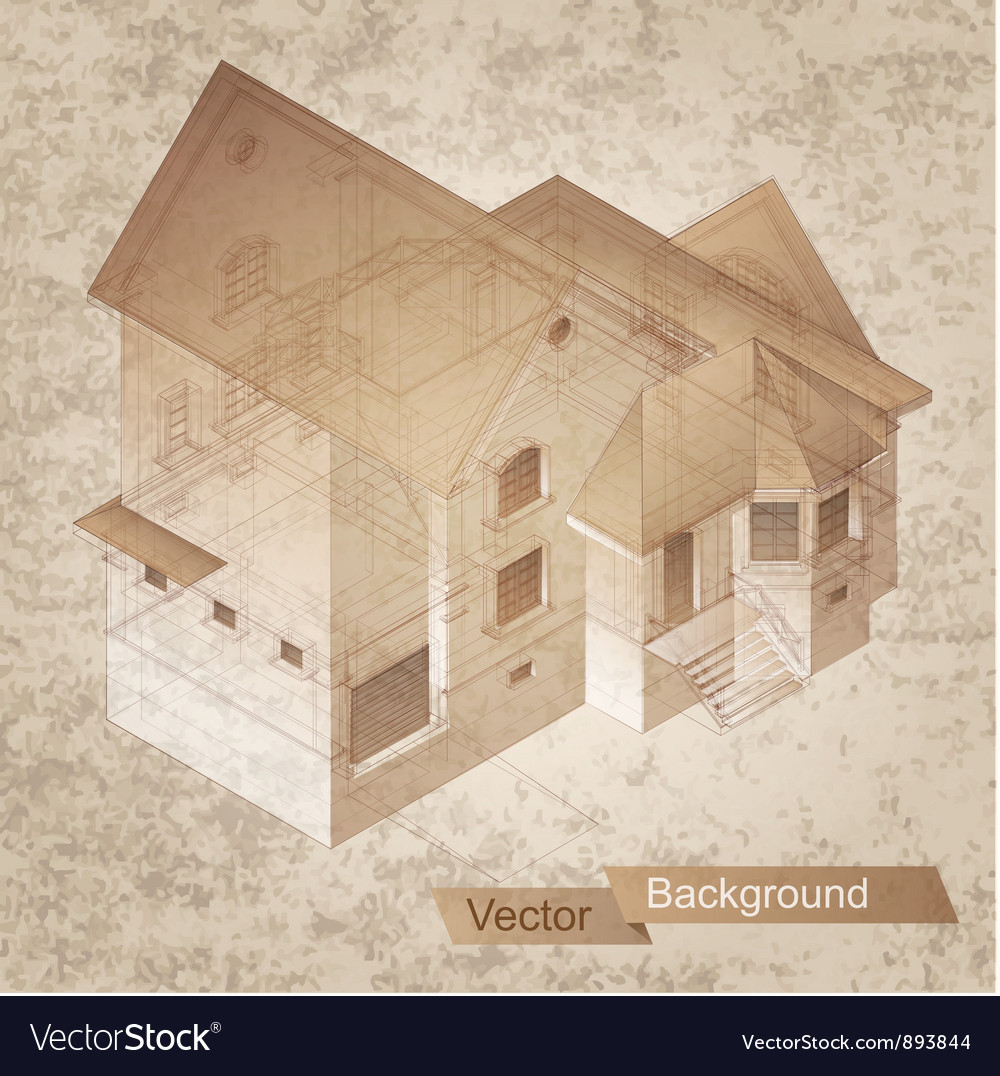 Architectural building model vector | Price: 1 Credit (USD $1)