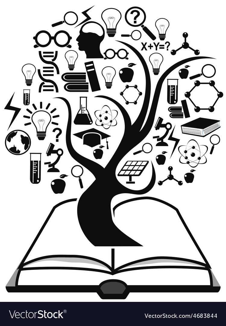 Black education icons tree up from book vector | Price: 1 Credit (USD $1)