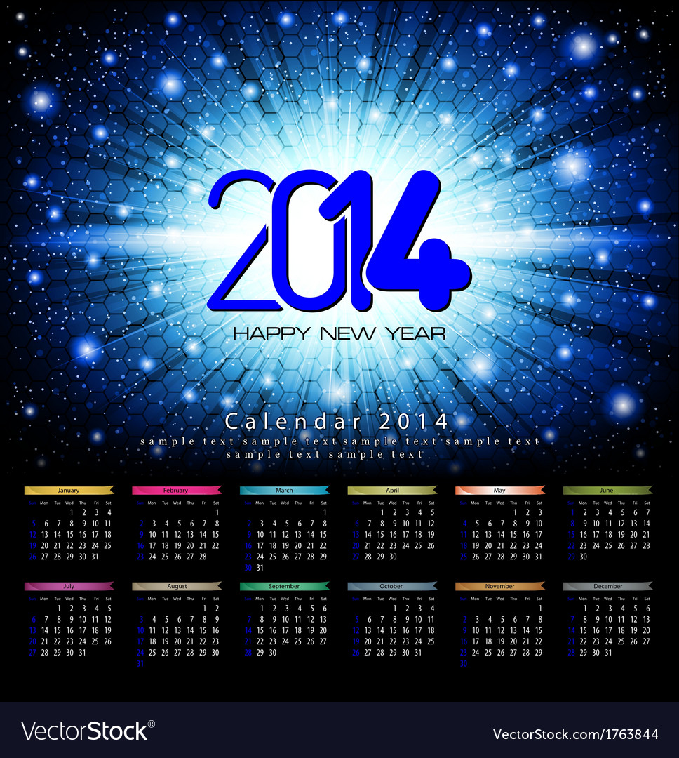 Calendar 2014 beckground blue vector | Price: 1 Credit (USD $1)