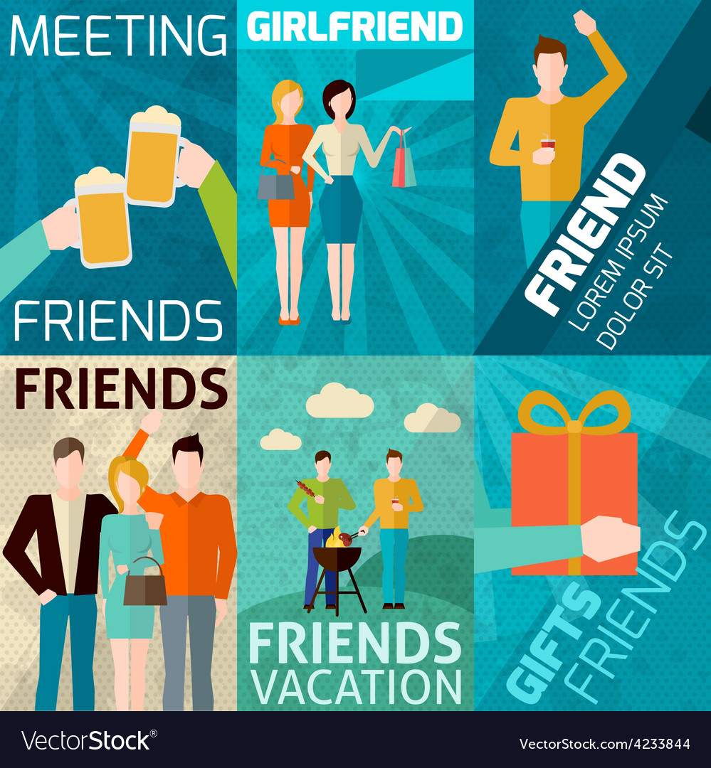 Friends mini poster set vector | Price: 1 Credit (USD $1)