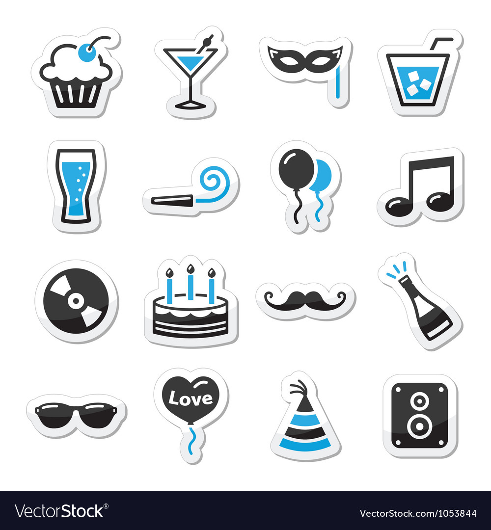 Holidays and party icons set as labels vector | Price: 1 Credit (USD $1)