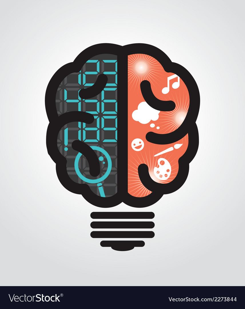 Idea bulb left brain right brain vector | Price: 1 Credit (USD $1)