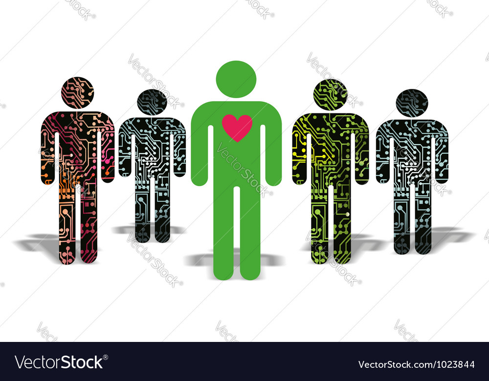 Man with a heart of artificial people vector | Price: 1 Credit (USD $1)