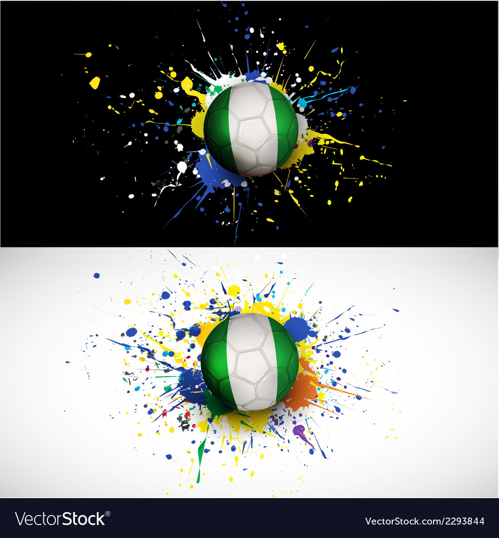 Nigeria flag with soccer ball dash on colorful vector | Price: 1 Credit (USD $1)