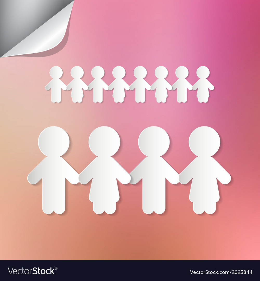 Paper people holding hands on pink background vector | Price: 1 Credit (USD $1)
