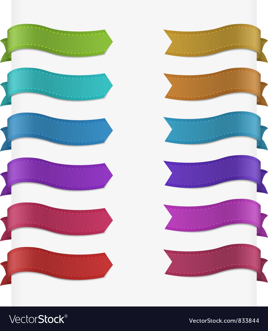 Set of 12 quality textured ribbons vector | Price: 1 Credit (USD $1)