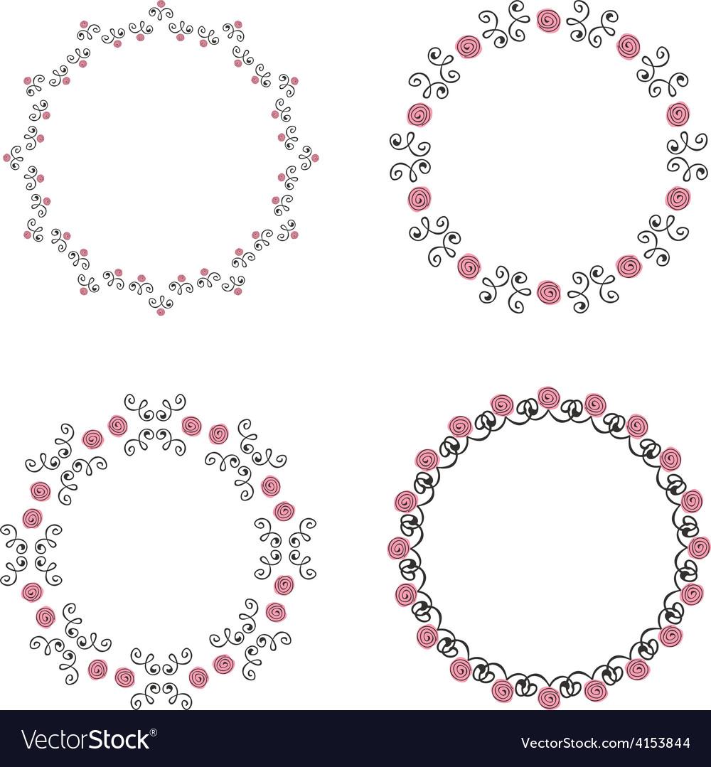 Set of four ornate round vintage frames vector | Price: 1 Credit (USD $1)