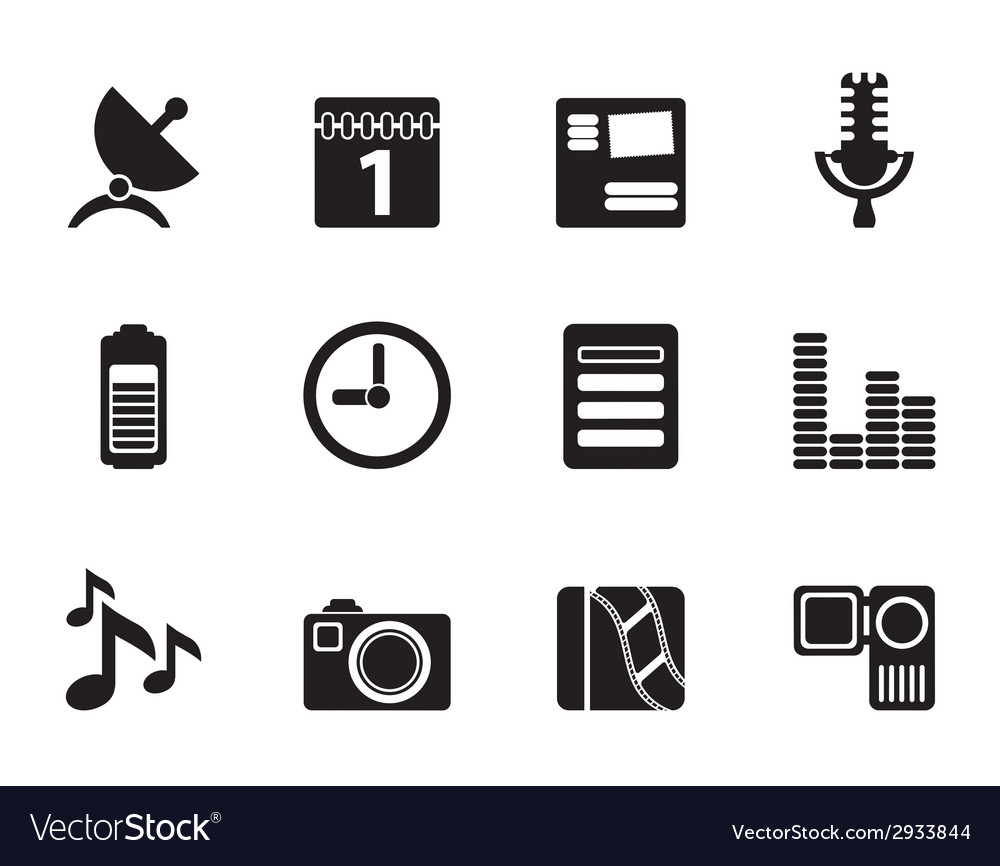 Silhouette mobile phone performance icons vector | Price: 1 Credit (USD $1)