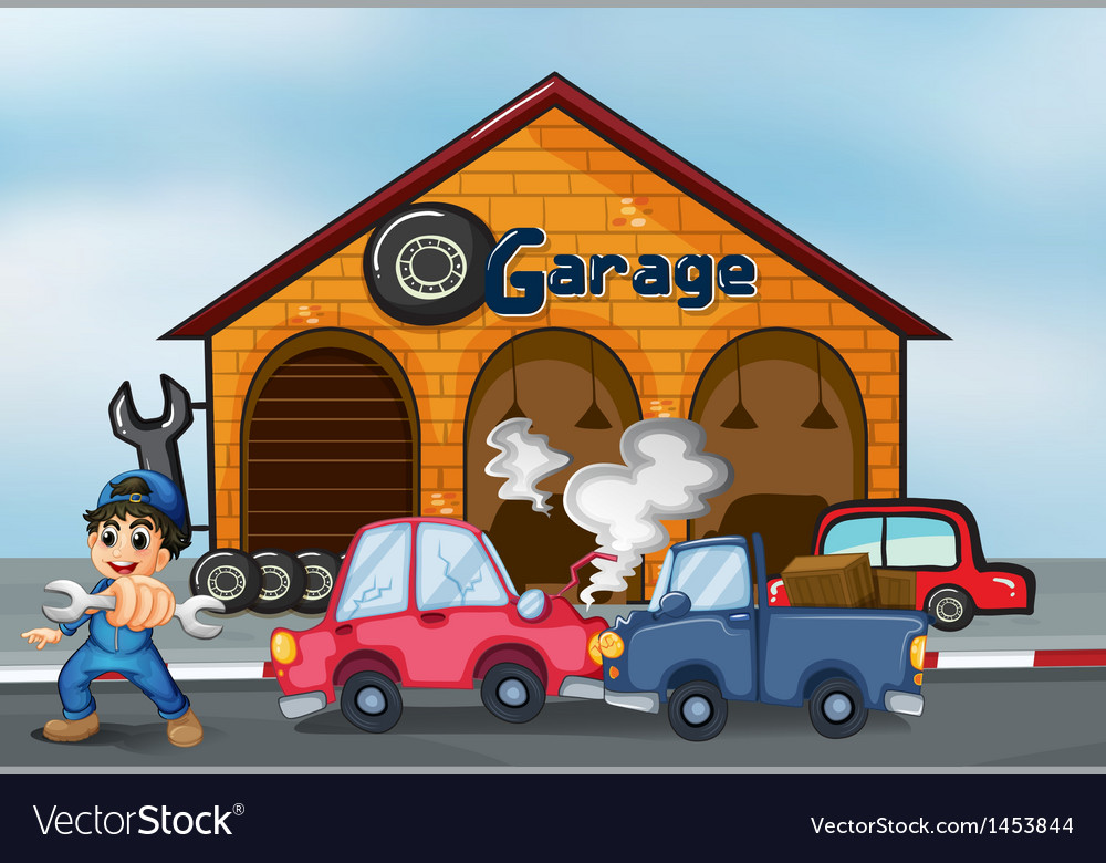 Two cars bumping in front of the garage vector | Price: 1 Credit (USD $1)