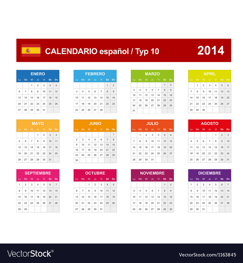 Calendar 2014 spain type 10 vector | Price: 1 Credit (USD $1)