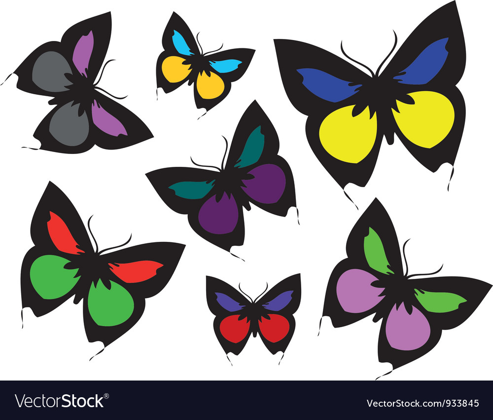 Collection of coloured butterflies vector | Price: 1 Credit (USD $1)