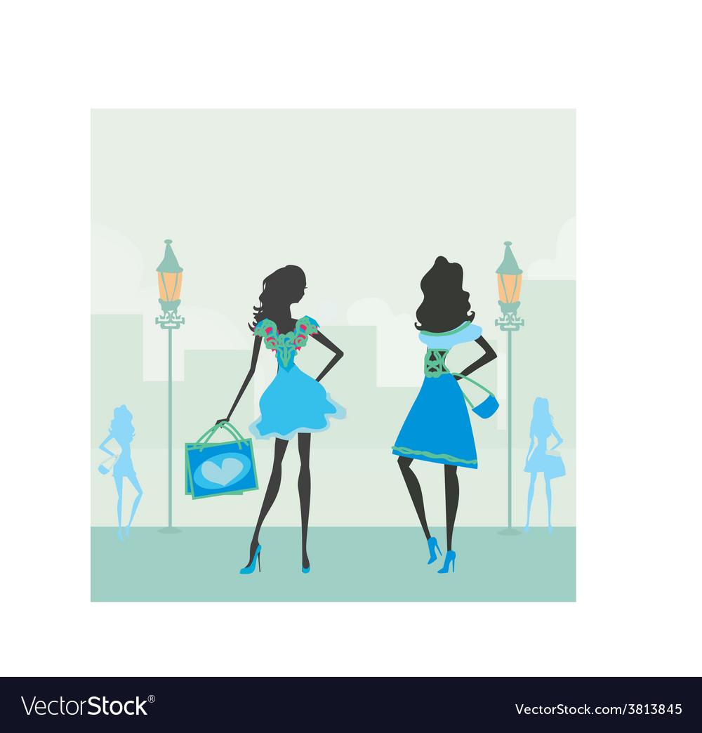 Fashion silhouettes girls shopping in the city vector | Price: 1 Credit (USD $1)