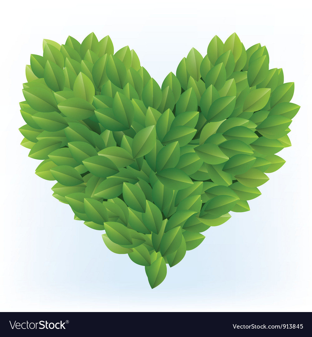 Heart symbol in green leaves vector | Price: 1 Credit (USD $1)
