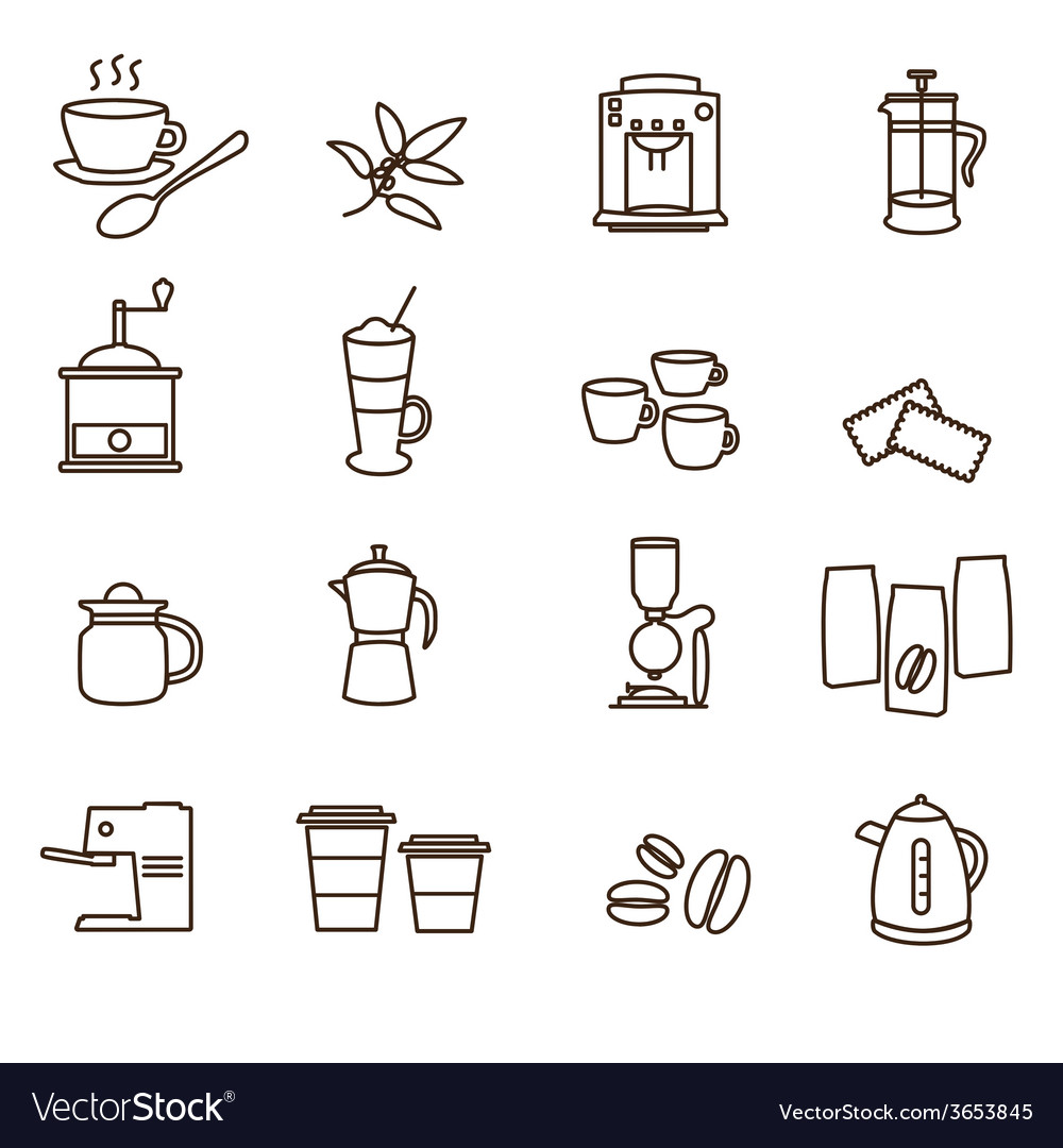 Outline brown simple coffee icons set eps10 vector | Price: 1 Credit (USD $1)