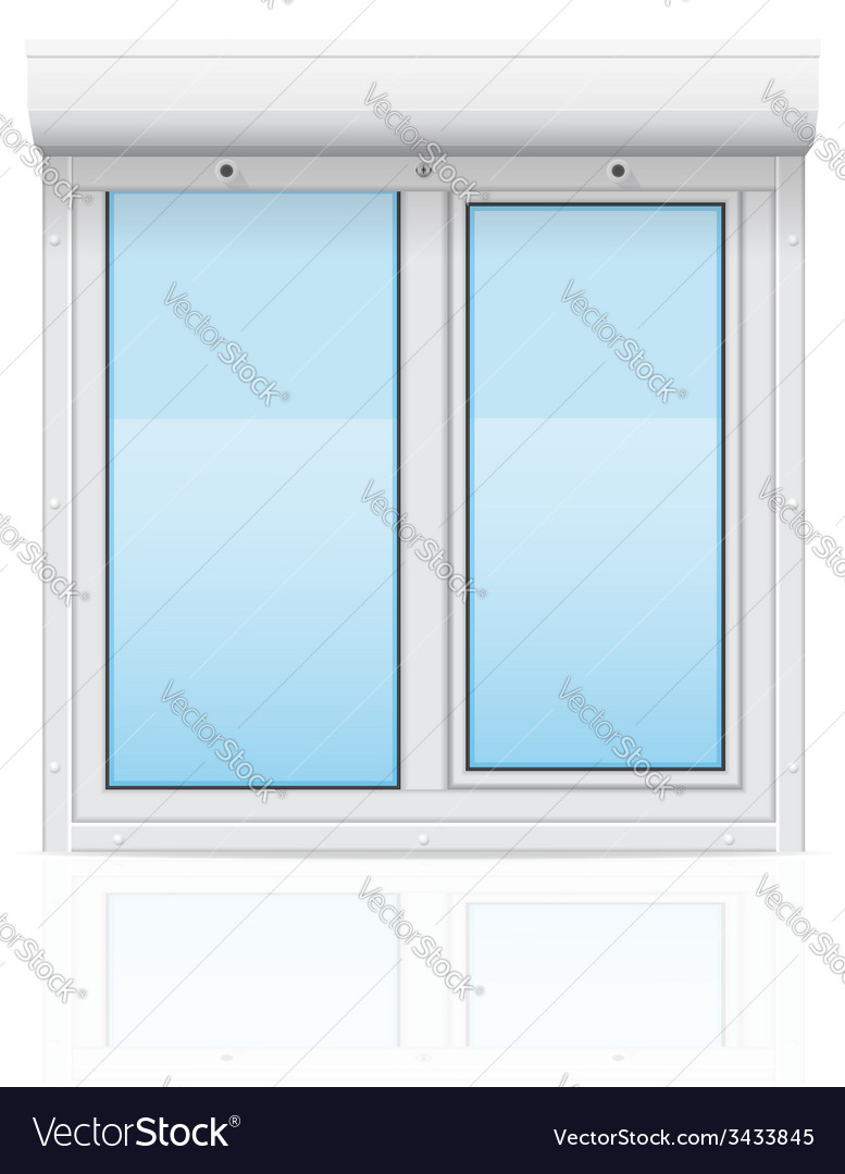 Plastic window with rolling shutters 02 vector | Price: 1 Credit (USD $1)