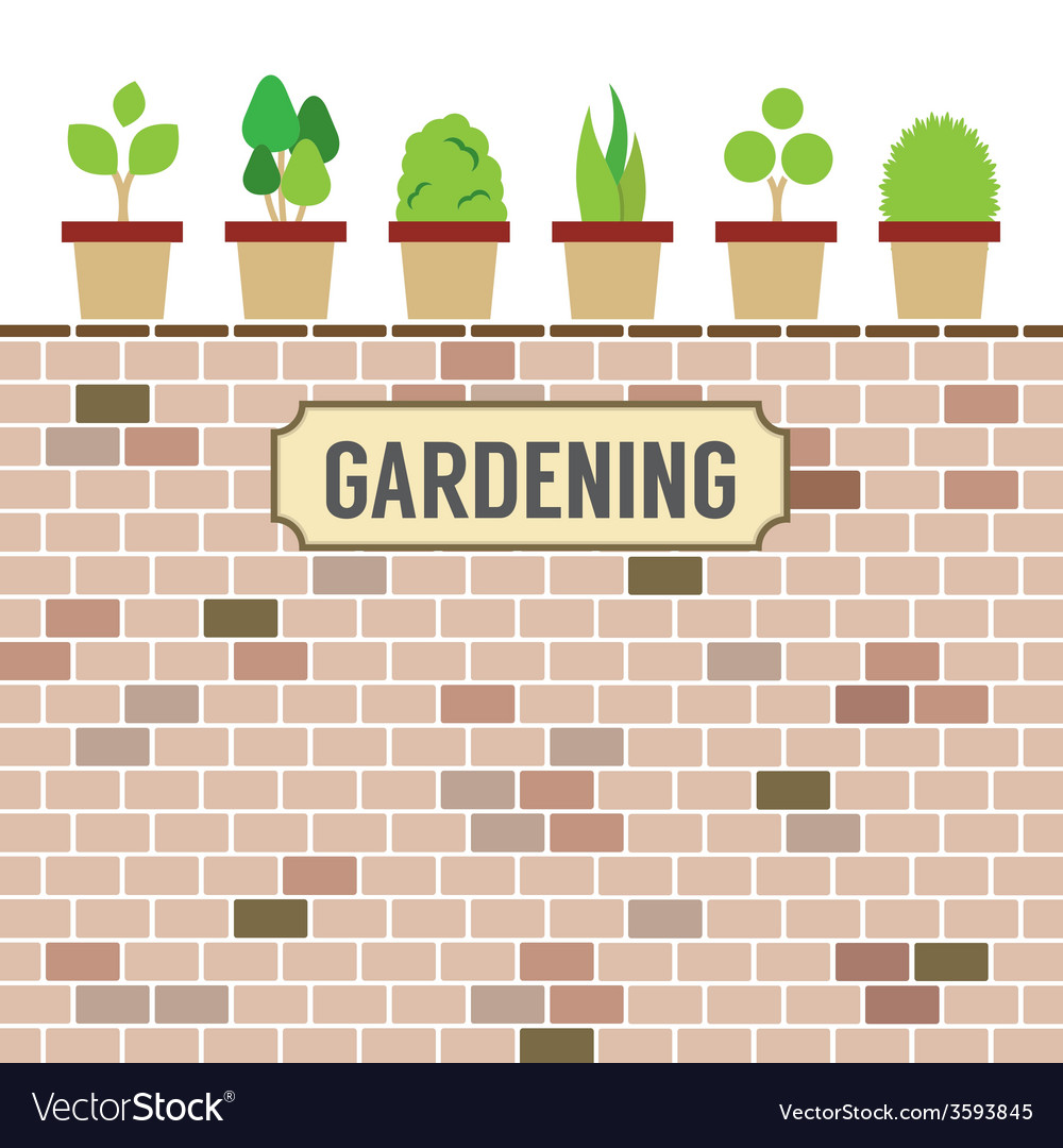 Pot plants on brick wall gardening concept vector | Price: 1 Credit (USD $1)