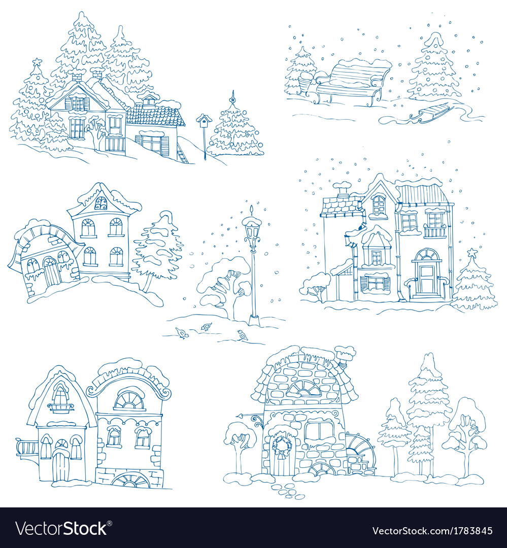 Set of christmas houses vector | Price: 1 Credit (USD $1)