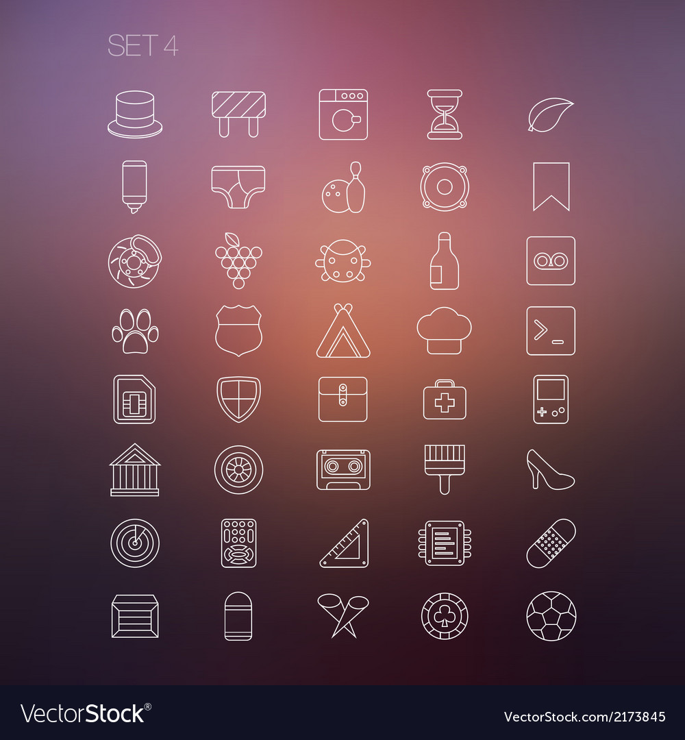 Thin icon set 4 vector | Price: 1 Credit (USD $1)