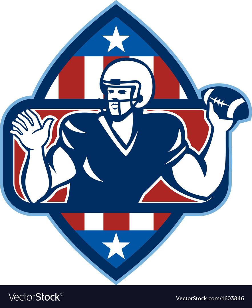American football quarterback throw ball vector | Price: 1 Credit (USD $1)