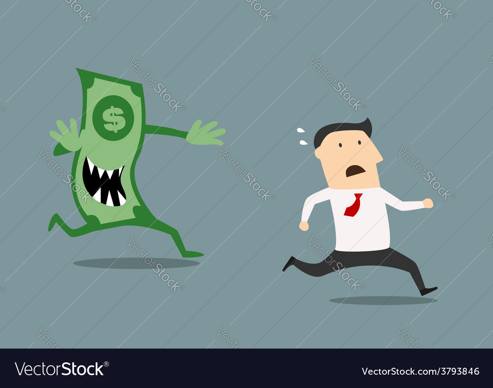 Businessman pursued by an evil dollar banknote vector