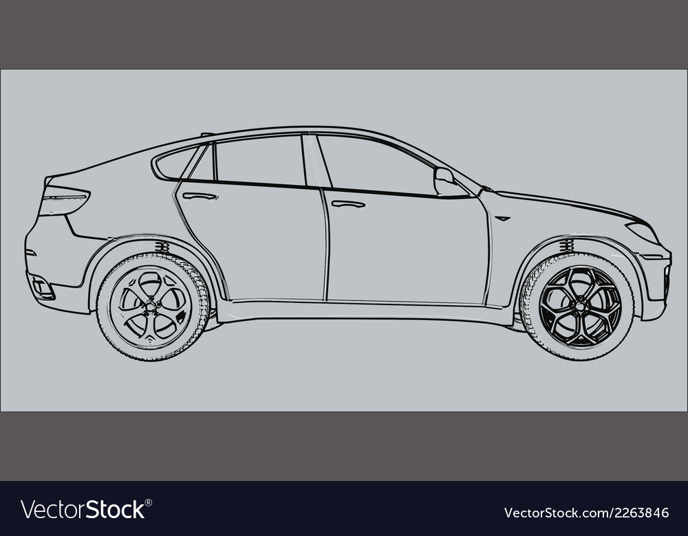 Car silhouette on a gray background vector | Price: 1 Credit (USD $1)