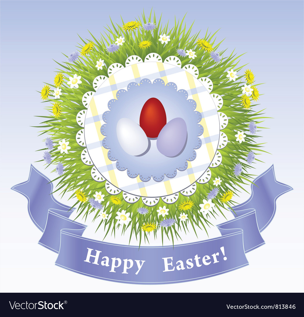 Easter congratulation with eggs grass ribbon vector   Price: 1 Credit (USD $1)