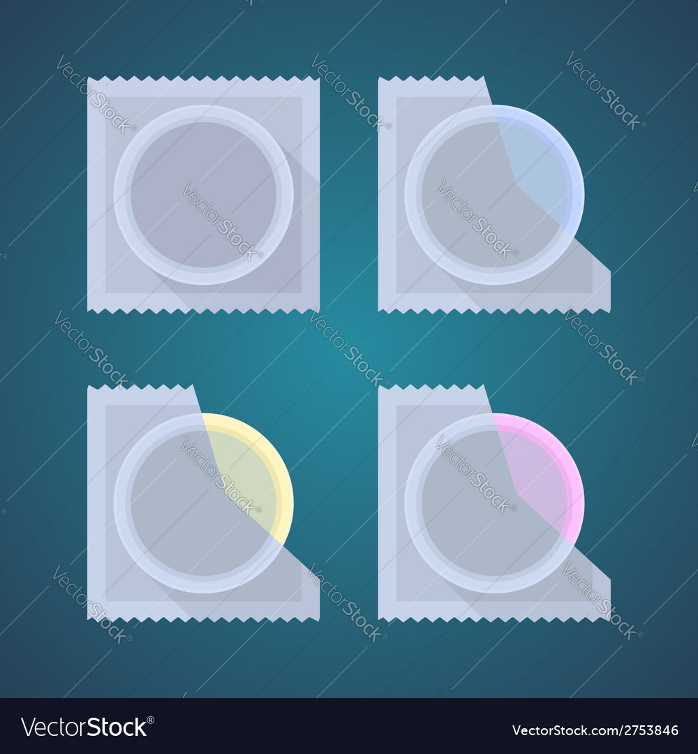 Flat icons of colored condom vector | Price: 1 Credit (USD $1)