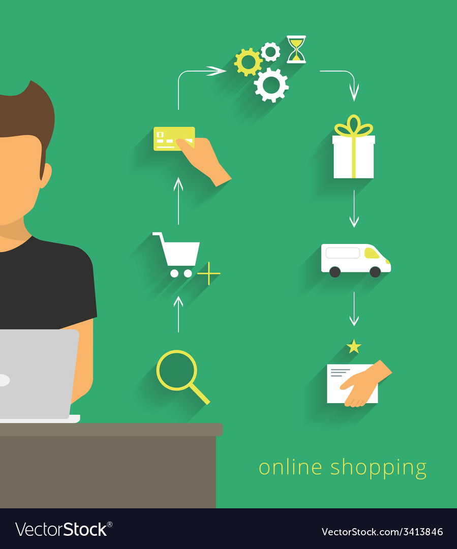 Man doing online shopping vector | Price: 1 Credit (USD $1)