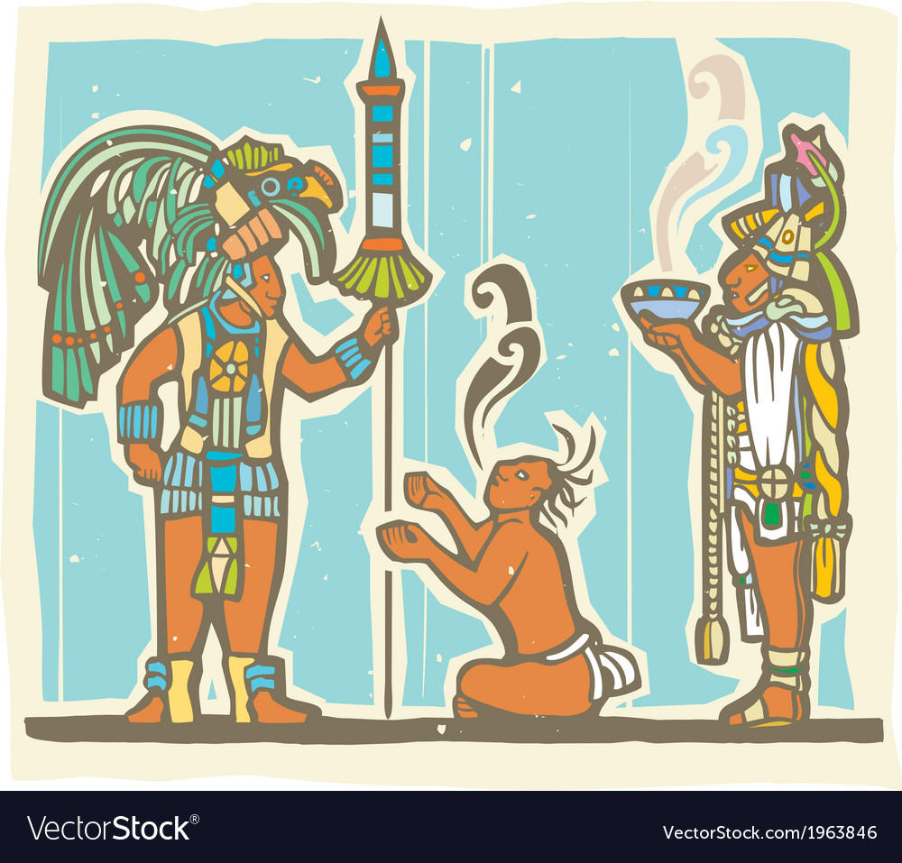 Mayan warrior captive and priest vector | Price: 1 Credit (USD $1)