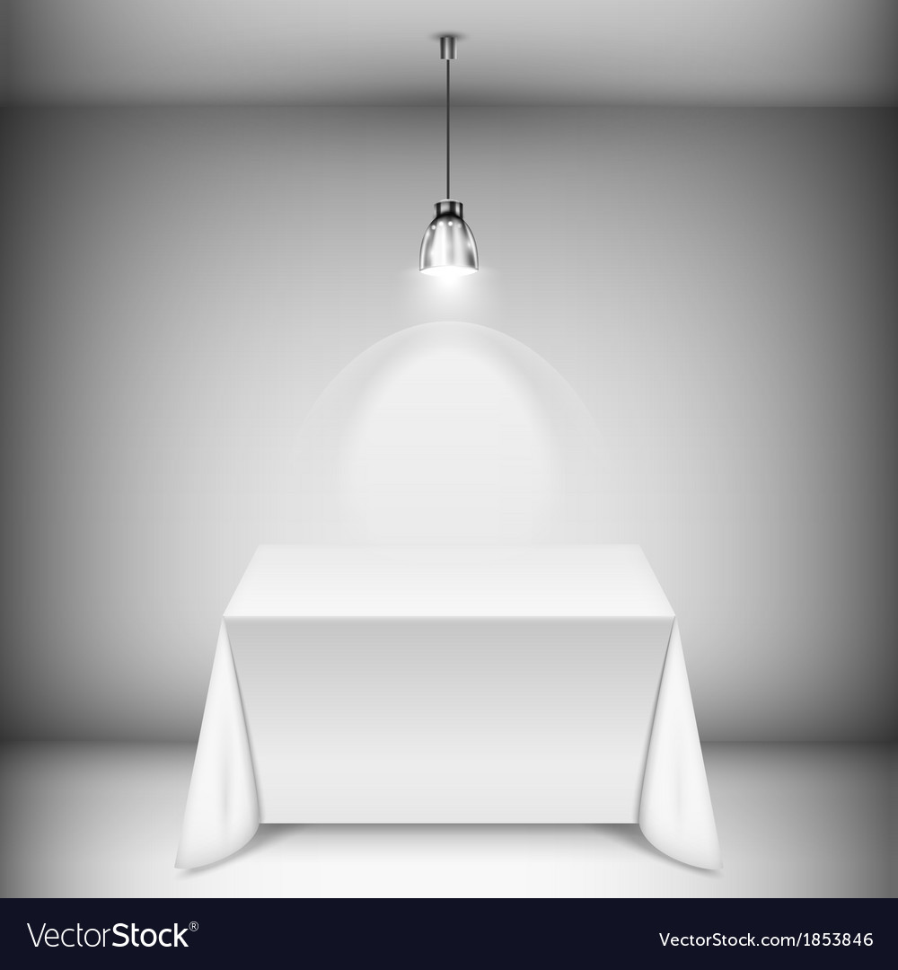 Table with tablecloth illuminated by spotlight vector | Price: 1 Credit (USD $1)